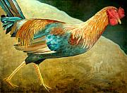 Running Rooster Art Greeting Card by NC Artist Scott Plaster