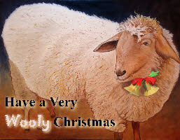 Shaggy Sheep Wooly Christmas Online Greeting Card by Artist Scott Plaster